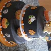 Halloween Pumpkin Cake The tops pieces are chocolate suckers. This cake is covered in fondant.