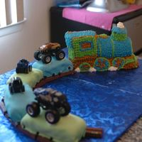 Train Cake I made this train cake for my sons 3rd birthday. He was having a monster truck birthday but we rented a trackless train to come take the...