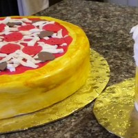 "Pizza & Beer Pizza: 12 inch round cake covered in vanilla fondant. Painted the ""crust"" in gold. Topped the pizza with red BC sauce, white BC..."