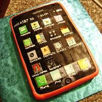 Iphone Cake 12x8 cake covered in black and hot pink tinted fondant. I hand-painted all the app icons. I used the same apps as the bday girl's...