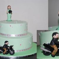 Round Engagement Cake - This was for my friends engagement - the cake was green as it is the brides favourite colour and the groom is riding on his motorbike to...