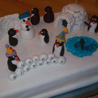 Penguins   Loved to make this cake..! It was so much fun... and easy.. Guess that's why it was fun...