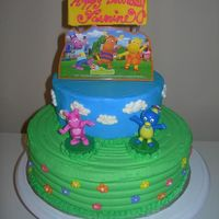 Backyardigans Cake This is all white cake with buttercream frosting