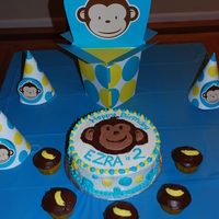Mod Monkey Cake And Banana Cupcakes  Made for my son's 2nd birthday to match the Mod Monkey 2nd birthday theme from Birthday Express. Cupcakes are banana with chocolate...