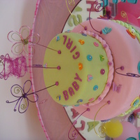 Camila Round cakes 12 and 8. The mother to be design the cake and made the wires. Pound cake, buttercream and fondant.