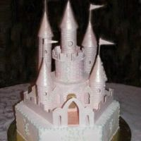 Fairytale Castle   Hexagon cake with gumpaste/fondant accent pieces, airbrushed in antique pink.