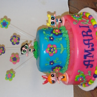 Power Puff Girls Cake This was strawberry cake with strawberry fondant with fondant accents. The power puff girls were toys!!Thanks for looking!!!!