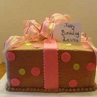Present Cake Chocolate cake with chocolate icing & fondant accents. Thanks for looking!!!!