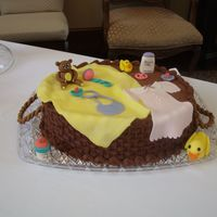 Baby Shower Cake iced in buttercream. All decorations are fondant. Thanks for looking.