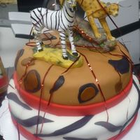 "Animal Print top tier is 8"" & bottom tier is 10"" . the cake is covered in fondantthis was my first cake in fondant."