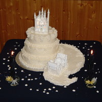 Fairy Tale Wedding Cake my very first wedding cake for my sister, vanilla cake, buttercream icing with royal icing drop flowers
