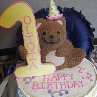 3D Teddy Bear wilton inspired first birthday cake buttercream and MMF