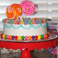 Candyland Buttercream with candy accents for my twins' 5th birthday party