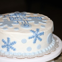 Winter Birthday buttercream with fondant snowflakes and polkadots