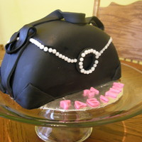 Black Purse Cake White cake,black fondant, sugar pearls