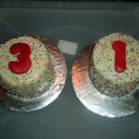 31 White cake, buttercream, sprinkles, fondant numbers