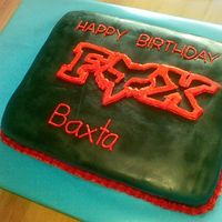 Red Fox Logo On Black Fondant Slab Cake