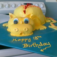 Yellowdragon   Chocolate cake body and head covered in fondant. Tail, feet and spikes all fondant.