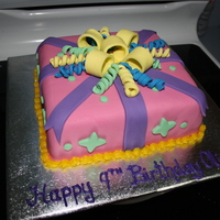 Pretty Present Chocolate cake covered and decorated with fondant..