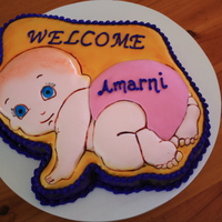 Baby - Girl Chocolate cake covered with buttercream and fondant made for the birth of a friends baby girl.
