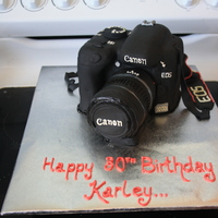Canon Camera 1000D   Chocolate cake covered in black fondant and royal icing piping for details.