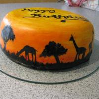 Painted Africa Chocolate-banana-cake for my sister. all handpainted with foodcolor