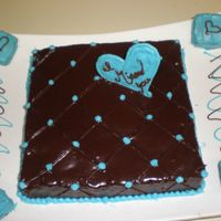 "Miss You Chocalate ganache; used square fondant cutter to make the diamond imprint on the ganache, chocolate candy melts heart shape ""miss you&..."