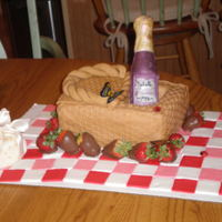 21 Picnic Basket Picnic basket with wine bottle for 21st bday.basket weave roller used on fondant, rice paper butterflies, chocolatemold wine bottle,...