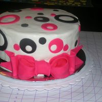 Pink, Black And White I made this for my 15 y/o cousin's Birthday. Buttercream with fondant accents. I had made a royal icing tiara, but decided not to use...