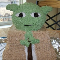 Yoda this was a birthday cake for my husband he loves yoda I modeled it after his lego yoda who is almost as tall as this cake. His head and...