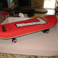 Skateboard This was a birthday cake for a friends son. He loves skateboard, so we came up with a cake built on an actual skateboard. He was turning...
