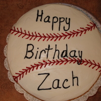 Baseball Birthday Cake Writing is not my strong point! This was a strawberry cake with cream cheese icing.