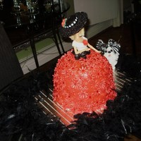 Lady In Red  Barbie cake. Did not purchase the Wilton cake pan. Used a bowl and larger cake pan.The hat is made of gumpaste and the dress covered in...