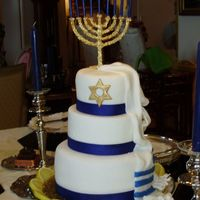 Chanukah  This cake was inspired by yeastconfection who is a memeber of Cake Central..Thanks!I made this cake for a friends Chanukah party. The Talit...
