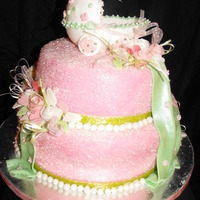 Baby Shower Cake fondant carriage, flowers and drapes.