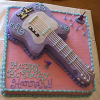 Hannah Montana Guitar Cake All buttercream icing! Carved the guitar from a sheet cake.