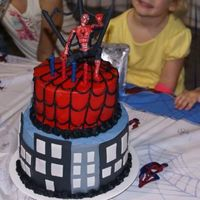 Spiderman Cake is all in buttercream icing, web in fondant.