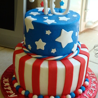 "4Th Of July 70Th Birthday   8"" & 6"" cakes with buttercream frosting and fondant decorations. Inspired by all of the 4th of July cakes here on CC. TFL!"