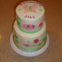 Coworker's Baby Shower  I made this for a coworker's surprise shower to match the party decorations. This cake gave me nothing but trouble. It leaned, bulged...