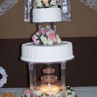 Wedding Cake BASKETWEAVE, SILK FLOWERS WITH FOUNTAIN