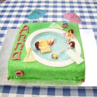 Swimming Pool Party  A fun cake to make once I realised I only had to model partial figures because the 'water' would be hiding the rest. They did...