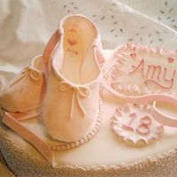 Ballet Shoe Cake For A Young Dancer   I made this cake about 3 years ago for a young ballet student - the base cake was a 14 inch oval fruit cake.