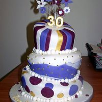 Whimsy 30Th Purple and gold topsy turvy cake