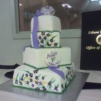 Miss Lucy's 90Th Birthday Made for a 90th birthday, I hand painted the flowers - my first time doing that. The birthday girl's favorite colors are purple and...