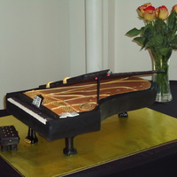 Concert Grand Piano I made this for the reception of a Piano Concert featuring Dr. Robert Banks. Chocolate BC filling and frosting, covered in MMF. The lid is...