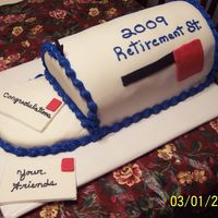 Retirement Cake MMF covered cake for a retirement party for a lady who worked for the post office. Buttercream border. Fondant accents