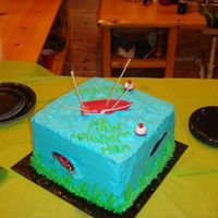 Fisherman Cake This is a vanilla cake with B/C , the lures are real, this was for a baby boy that was going to be named Fisher, his father loved to fish,...