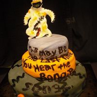 Oogie Boogie 3 layered cake with Nightmare before Christmas' Oogie Boogie and Oogie's lyrics to his song