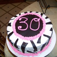 30Th Birthday With Zebra Stripes A friend requested pink and zebra stripe for her 30th birthday. Snickerdoodle cake with snickerdoodle buttercream and black fondant accents...