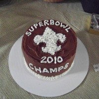 New Orleans Saints Super Bowl Cake A co-worker wanted a small cake for her superbowl party. I came up with this- she says its the reason they won!! Chocolate cake with...